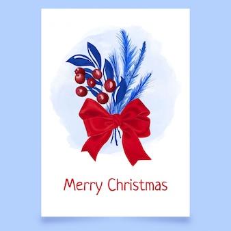 Рождественская открытка с калиной, листьями и бантом