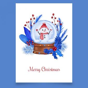 Рождественский снежный шар со снеговиком