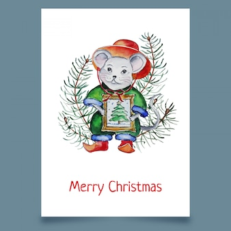 Рождественская открытка с мышью в шляпе