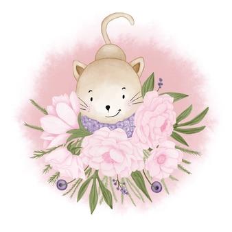 Кот с букетом цветов