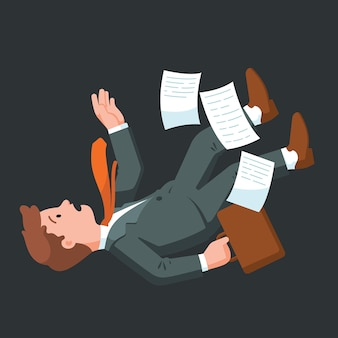 若いビジネスマンが倒れています