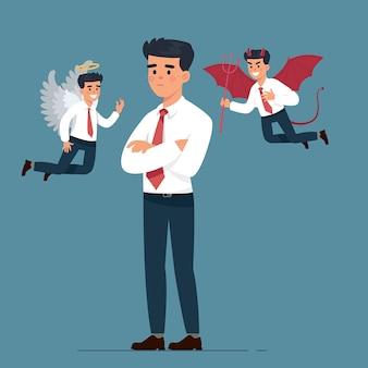 天使と悪魔のキャラクターと青年実業家
