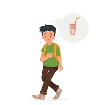 少年は歩いていてのどが渇いている