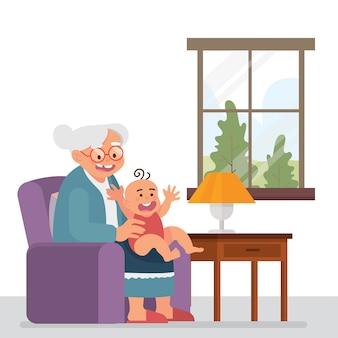 おばあちゃんと幼児が一緒に