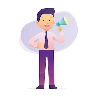 Молодой бизнесмен держит мегафон