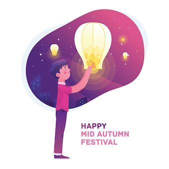 少年は秋のお祭りを祝う