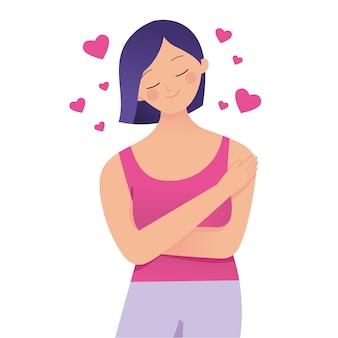 Молодая леди обнимает себя с любовью, люби себя