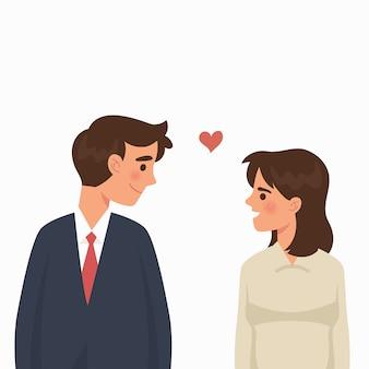 若い男と女が恋にお互いを見てください。