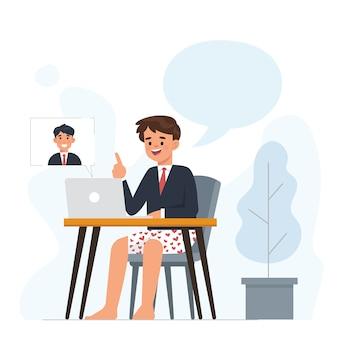 若いビジネスマンが自宅からのビジネスパートナーとのビデオ通話を行っています。