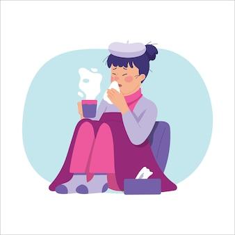若い女性は発熱と重度のインフルエンザに苦しんでいます
