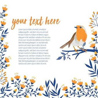 Флористический и цветок с понятием птицы