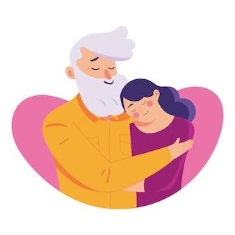 Молодая женщина обнимает своего старого отца с любовью,