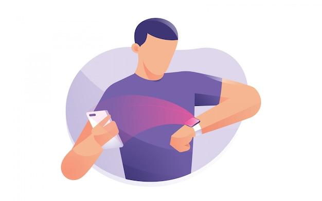 男は、モバイルデバイスに接続されている時計を着用します。