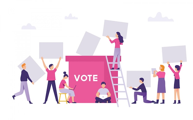 Люди принесли результаты голосования на всеобщих выборах в ящик для выборов