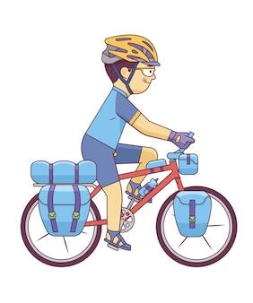 ツーリングバイクを持つ男