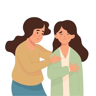 Молодая женщина успокаивает своего друга, который грустит