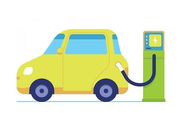 電気自動車は電気を充電しています、最新技術の電気自動車
