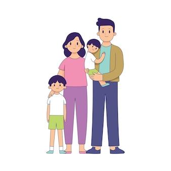 Семейный портрет, отец, мать и двое детей, счастливая семья вместе