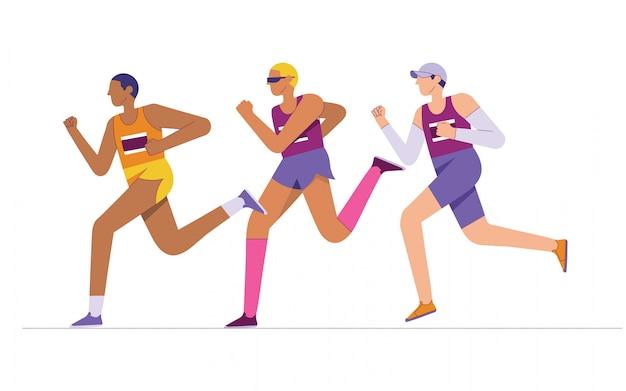 Группа элитных марафонцев, бегунов на длинные дистанции, бегущего спортсмена