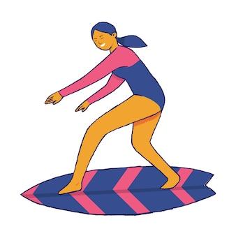 女性サーファーがサーフボードで行動を起こす