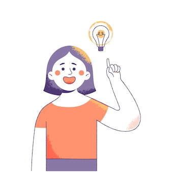 幸せな表情を持つ若い女性は新鮮なアイデアを得る