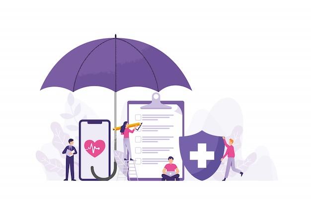 Медицинское страхование здоровья концепции векторные иллюстрации