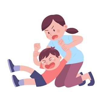若い母親が反抗と大声で泣くために息子の両手を持っています