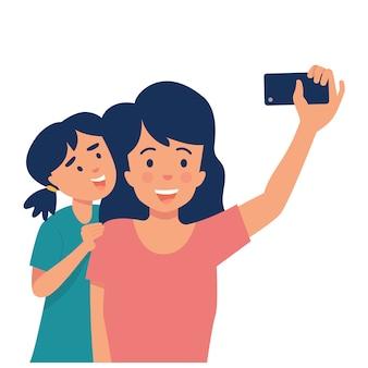 Мать держит смартфон и фотографирует свою дочь