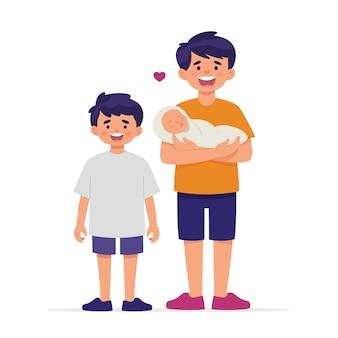 二人の兄弟は赤ちゃんの妹の誕生を歓迎して喜んでいます