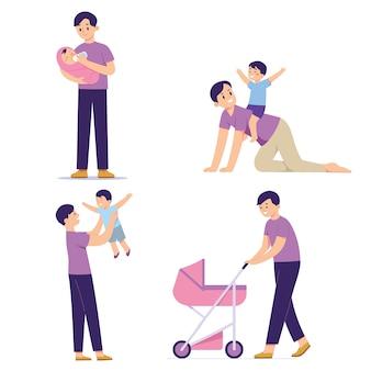 イラストグループの父の演奏と彼の子供の世話