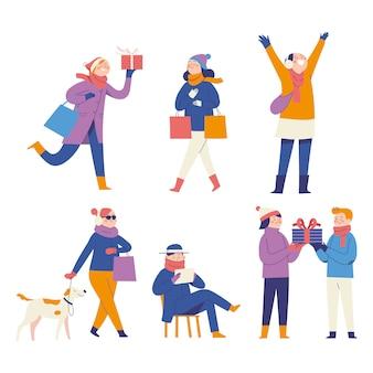 ショッピングや休日や贈り物を楽しむ人々のイラストコンセプト