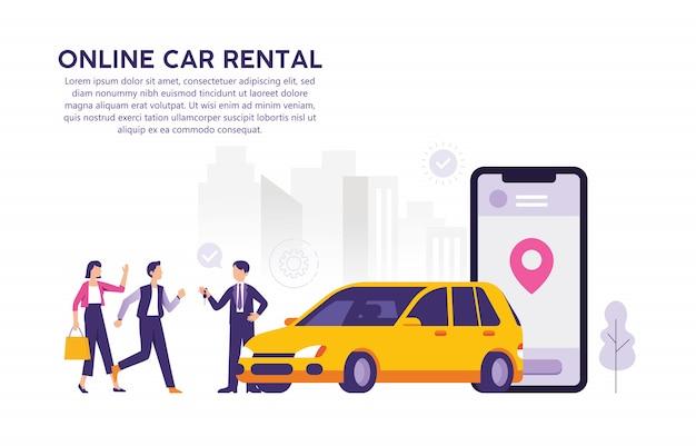 Концепция онлайн проката автомобилей иллюстрации через мобильное приложение