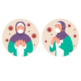 Мусульманки молятся, чтобы избежать заражения вирусом короны во время рамадана