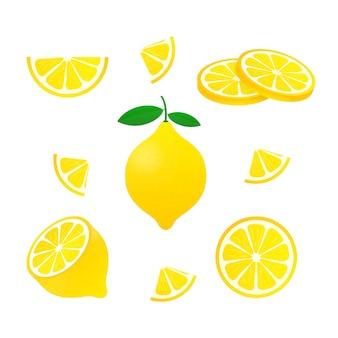 Желтый лимон, изолированный на белом