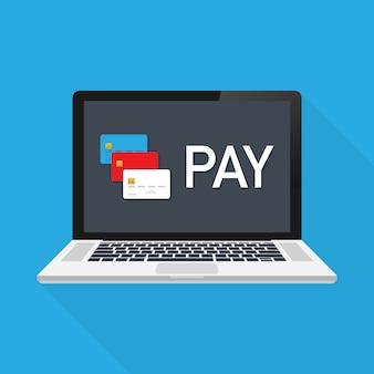 Оплата онлайн концепции на современных технологических устройствах с отзывчивым плоским веб-дизайном. векторная иллюстрация