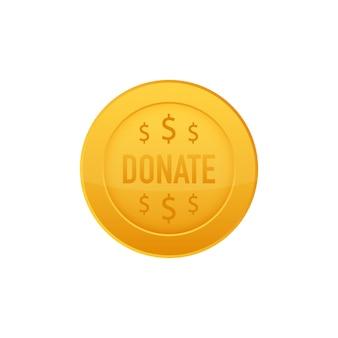 Пожертвовать концепцию руку и деньги кнопку в плоском стиле