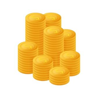 ゴールドコインスタック。金融ヒープ、ドル硬貨の山