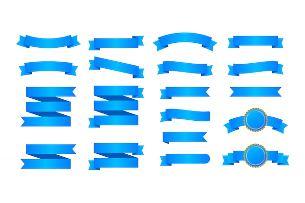 青いリボンバナー。リボンのセット。
