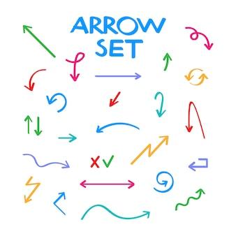 Нарисованное рукой собрание стрелки вектора, сделанный эскиз к стиль.