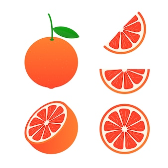 グレープフルーツ。グレープフルーツ全体とカット