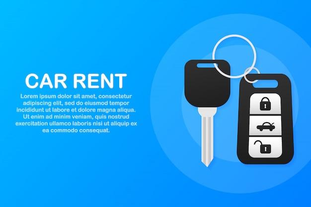 レンタルオートサービスのバナー。トレーディングカーとレンタカー。ウェブサイト、手と鍵のような広告