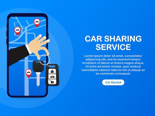 カーシェアリングサービスの広告ウェブページテンプレート。レンタルオートサービスのバナー。トレーディングカーとレンタカー。ウェブサイト、手と鍵のような広告