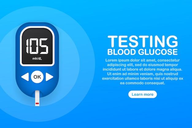 Тест уровня глюкозы в крови. диабетический глюкометр. абстрактное понятие графический веб-баннер элемент.
