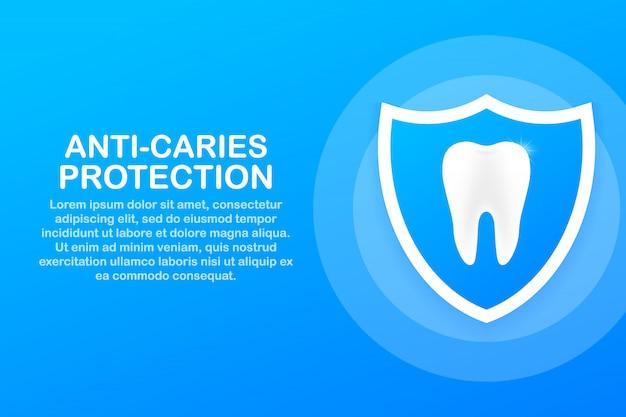 Противокариесная защита. зубы с дизайн значок щита. концепция стоматологической помощи. здоровые зубы. человеческие зубы