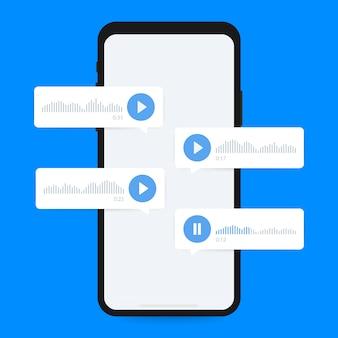 スマートフォンの画面上の音声メッセージ、音声メッセージ。ベクトルイラスト
