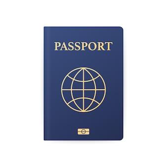 Голубой паспорт изолированный на белизне. международный идентификационный документ для путешествий.