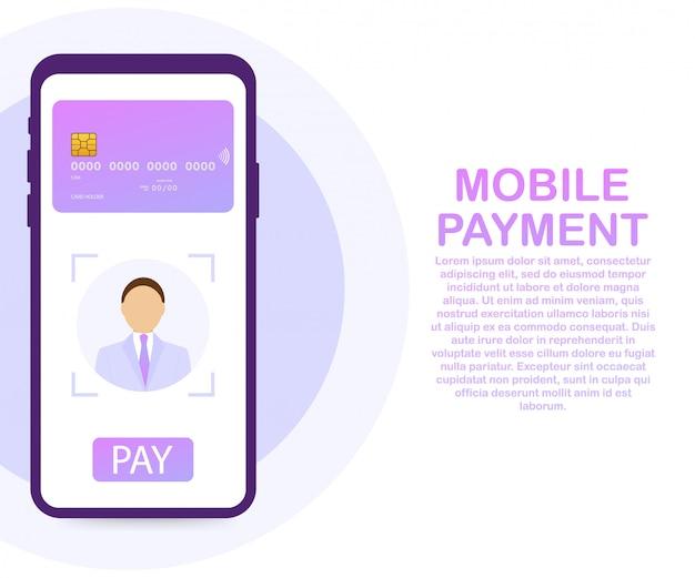 Безопасная оплата с распознаванием лиц и идентификацией на смартфоне. смартфон разблокирован с распознаванием лиц.