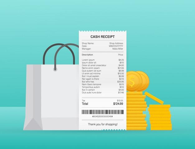 現金またはクレジットカードのトランザクションの現実的な支払い紙の請求書の領収書ベクトルイラスト。