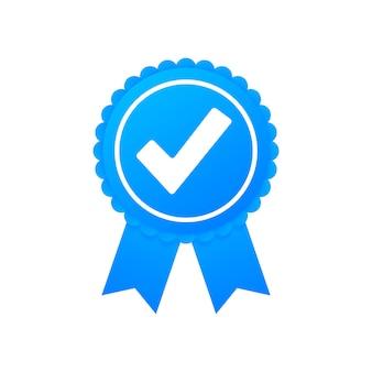 Галочка. синяя утвержденная звездная наклейка на белом