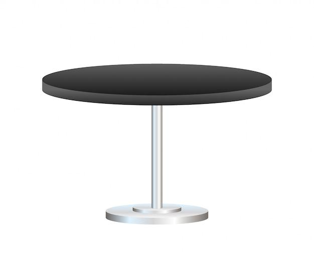 白で隔離金属スタンド付きの現実的な空のラウンドテーブル
